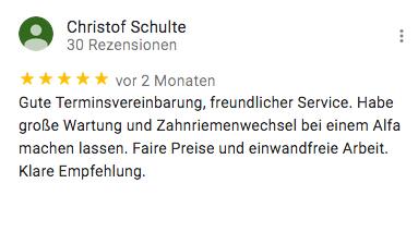 Rezension für KFZ Technik Fehl von Christopf Schulte