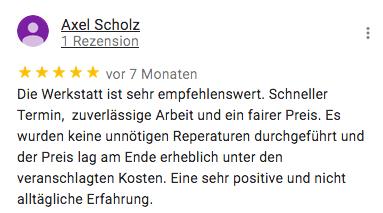 Rezension für KFZ Technik Fehl von Axel Scholz